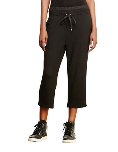 Lauren Ralph Lauren Cropped Drawstring Pants-BLACK-Large 88741561_BLACK_Large