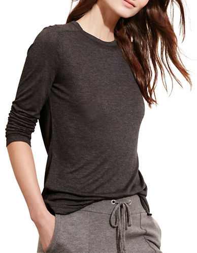 Lauren Ralph Lauren Jersey Scoop-Neck Tee-GREY-X-Small 88741574_GREY_X-Small