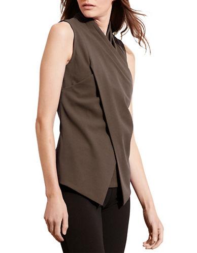 Lauren Ralph Lauren Asymmetric Jersey Surplice Top-BROWN-Medium 88742088_BROWN_Medium