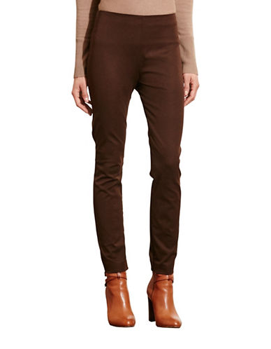 Lauren Ralph Lauren Stretch Cotton Skinny Pants-BROWN-6 88742150_BROWN_6