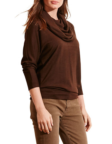 Lauren Ralph Lauren Cowlneck Jersey Top-BROWN-X-Small 88742188_BROWN_X-Small