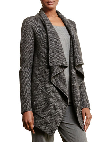 Lauren Ralph Lauren Wool-Blend Herringbone Cardigan-GREY-X-Large 88742197_GREY_X-Large