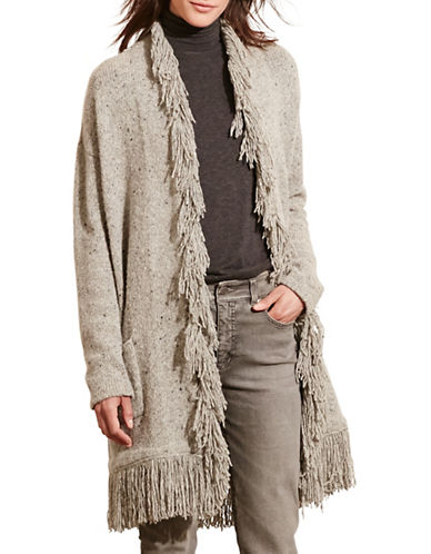 Lauren Ralph Lauren Fringed Merino Wool-Blend Cardigan-GREY-X-Large 88742202_GREY_X-Large