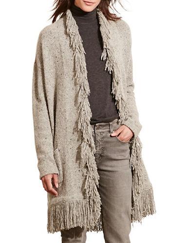 Lauren Ralph Lauren Fringed Merino Wool-Blend Cardigan-GREY-Medium 88742200_GREY_Medium