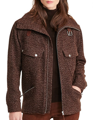 Lauren Ralph Lauren Wool-Blend Herringbone Jacket-BROWN-Large 88742239_BROWN_Large