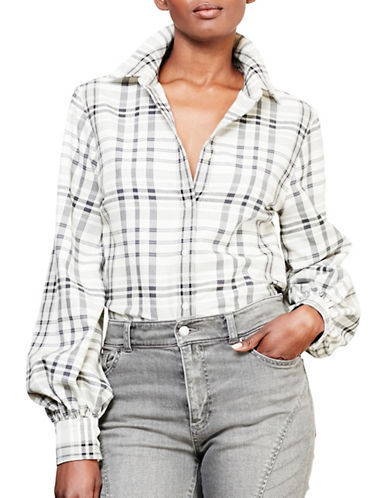 Lauren Ralph Lauren Plaid Bishop-Sleeve Shirt-GREY-Large 88742272_GREY_Large