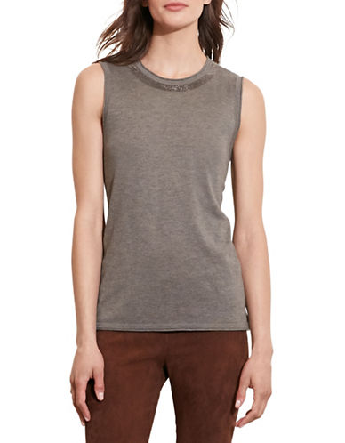 Lauren Ralph Lauren Beaded Silk-Blend Top-GREY-Medium 88742323_GREY_Medium
