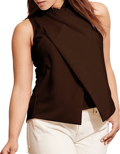 Lauren Ralph Lauren Plus Jersey Surplice Top-BROWN-1X 88667391_BROWN_1X