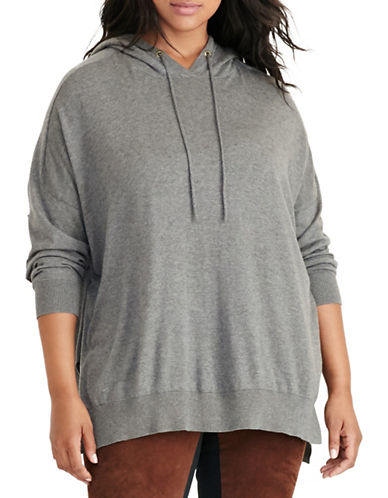Lauren Ralph Lauren Plus Cotton Jersey Hoodie-GREY-3X 88667465_GREY_3X