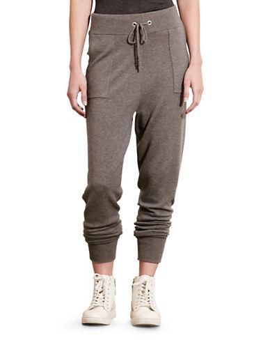 Lauren Ralph Lauren Wool-Cashmere-Blend Jogger Pants-GREY-Small 88741527_GREY_Small