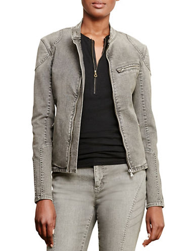 Lauren Ralph Lauren Stretch Denim Moto Jacket-GREY-16 88739779_GREY_16