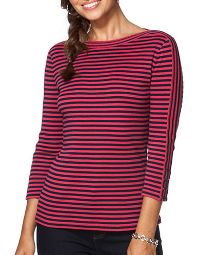 Chaps Striped Cotton-Blend Tee-PINK-Small 88849880_PINK_Small