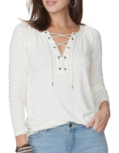 Chaps Long Sleeve Lace-Up Jersey Tee-WHITE-Large 88849892_WHITE_Large