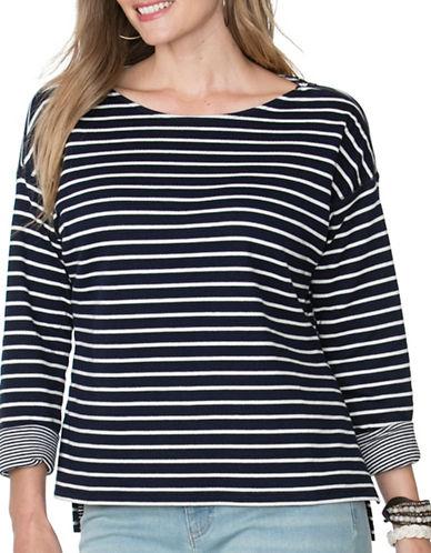 Chaps Plus Long-Sleeve Striped Tee-BLUE-1X