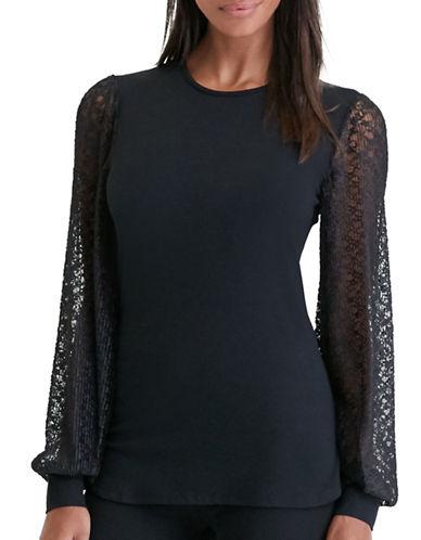 Lauren Ralph Lauren Lace-Sleeve Jersey Top-BLACK-X-Small 88861744_BLACK_X-Small