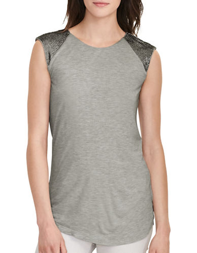 Lauren Ralph Lauren Beaded Cap-Sleeve Top-GREY-X-Large 88819342_GREY_X-Large