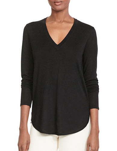 Lauren Ralph Lauren Silk-Blend V-Neck Sweater-BLACK-X-Small 88861777_BLACK_X-Small