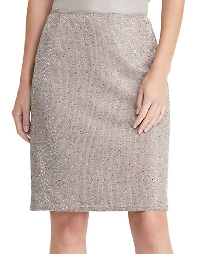 Lauren Ralph Lauren Beaded Pencil Skirt-BEIGE-8