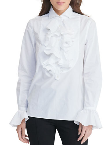 Lauren Ralph Lauren Ruffled Stretch Cotton Tunic-WHITE-Medium 88819411_WHITE_Medium