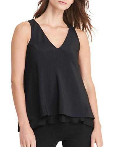 Lauren Ralph Lauren Layered Crepe Blouse-BLACK-X-Small 88862019_BLACK_X-Small