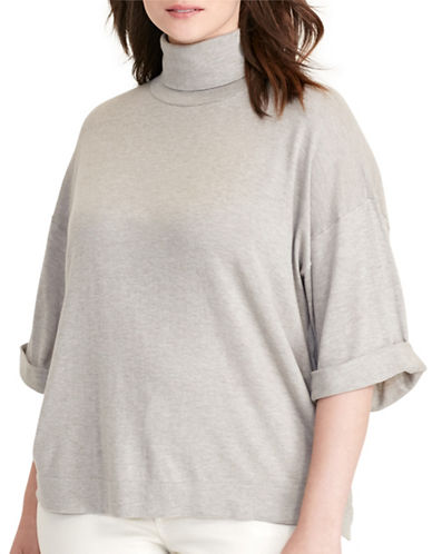Lauren Ralph Lauren Plus Jersey Short-Sleeve Sweater-GREY-1X 88796001_GREY_1X