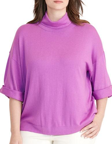 Lauren Ralph Lauren Plus Jersey Short-Sleeve Sweater-PURPLE-1X 88796004_PURPLE_1X