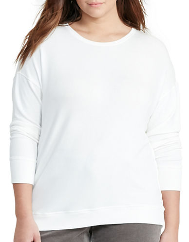 Lauren Ralph Lauren Plus Relaxed Jersey Top-WHITE-2X 88837577_WHITE_2X