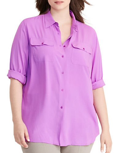 Lauren Ralph Lauren Plus Jersey Workshirt-PURPLE-2X 88796055_PURPLE_2X