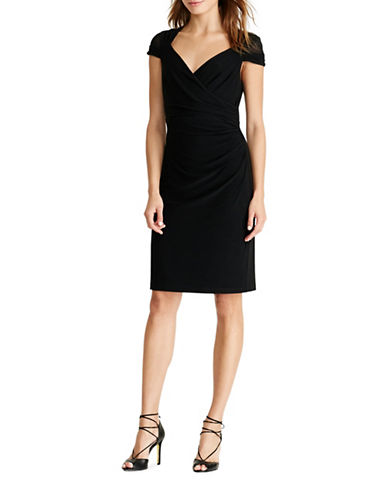 Lauren Ralph Lauren Ruched Jersey Dress-BLACK-10