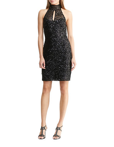 Lauren Ralph Lauren Sequined Halter Dress-BLACK-10