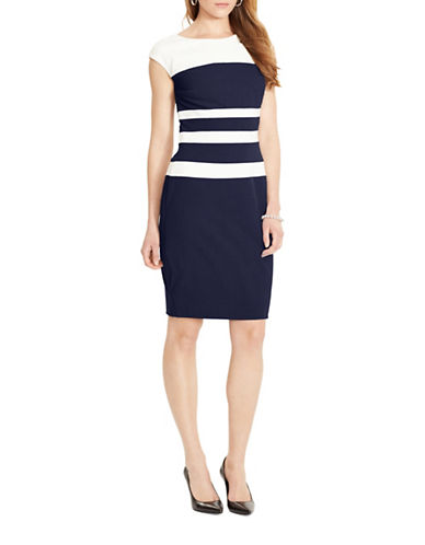 Lauren Ralph Lauren Colourblock Gabardine Dress-MULTI-14