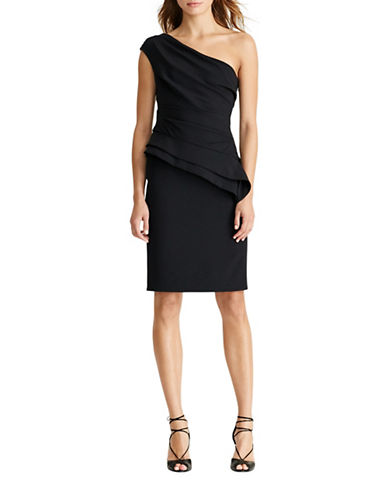 Lauren Ralph Lauren One-Shoulder Peplum Dress-BLACK-6