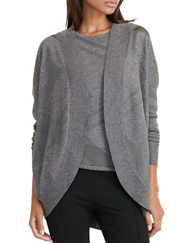 Lauren Ralph Lauren Metallic Plaid Cardigan-GREY-Small/Medium 88819738_GREY_Small/Medium