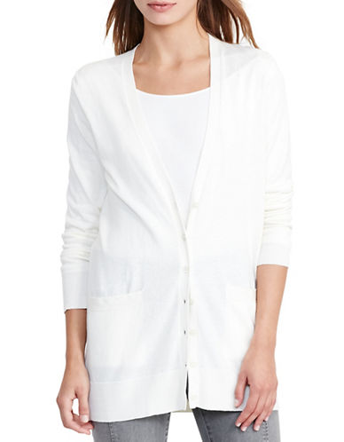 Lauren Ralph Lauren Stretch Cotton V-Neck Cardigan-WHITE-Large 88828066_WHITE_Large