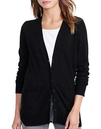 Lauren Ralph Lauren Stretch Cotton V-Neck Cardigan-BLACK-X-Small 88828075_BLACK_X-Small