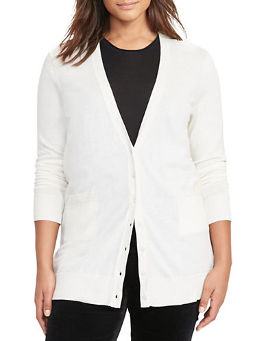 Lauren Ralph Lauren Plus Stretch Cotton Cardigan-WHITE-1X 88796129_WHITE_1X