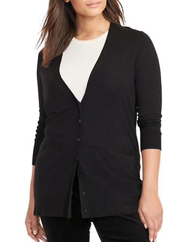 Lauren Ralph Lauren Plus Stretch Cotton Cardigan-BLACK-1X 88796132_BLACK_1X