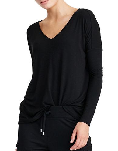 Lauren Ralph Lauren Jersey V-Neck Tee-BLACK-X-Small 88861949_BLACK_X-Small