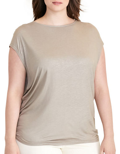 Lauren Ralph Lauren Plus Metallic Jersey Tee-NATURAL-1X 88796138_NATURAL_1X