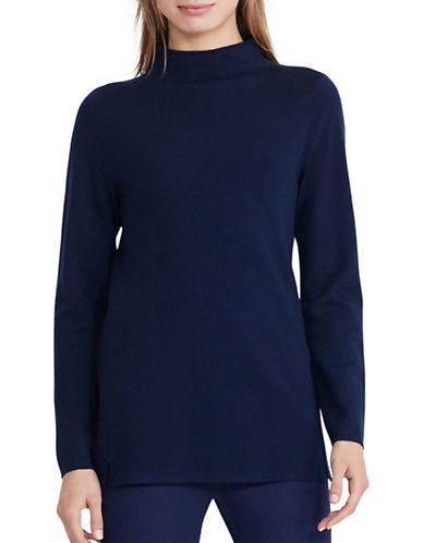 Lauren Ralph Lauren Wool-Blend Mockneck Sweater-BLUE-Large 88876300_BLUE_Large