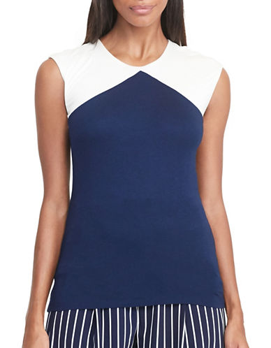 Lauren Ralph Lauren Colour-Blocked Jersey Top-BLUE-Medium 88876391_BLUE_Medium