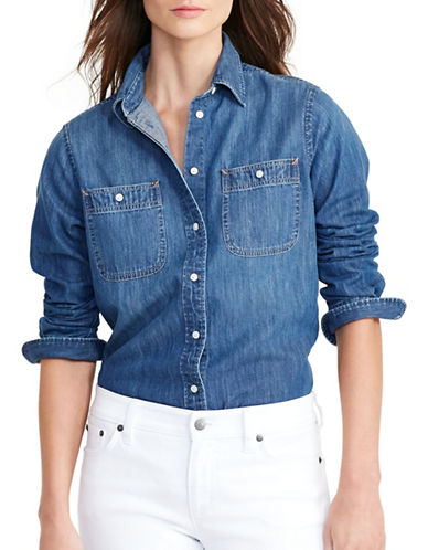 Lauren Ralph Lauren Denim Utility Shirt-BLUE-Small