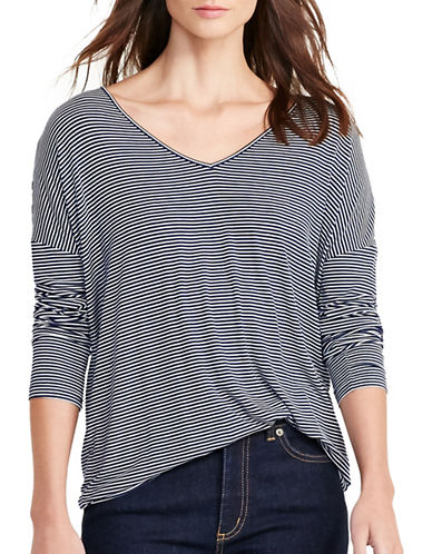 Lauren Ralph Lauren Striped Jersey V-Neck Tee-BLUE-Small 88876670_BLUE_Small
