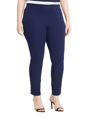 Lauren Ralph Lauren Plus Stretch Cotton-Blend Skinny Pants-BLUE-18W