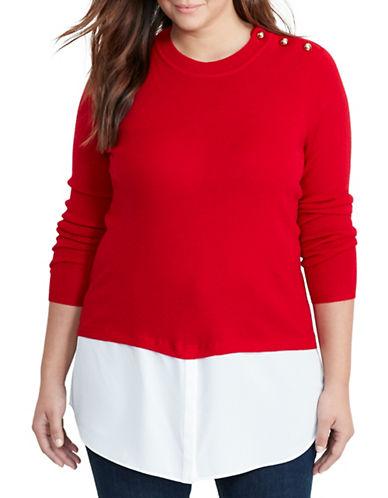 Lauren Ralph Lauren Plus Layered Merino-Blend Sweater-RED-2X 88837583_RED_2X