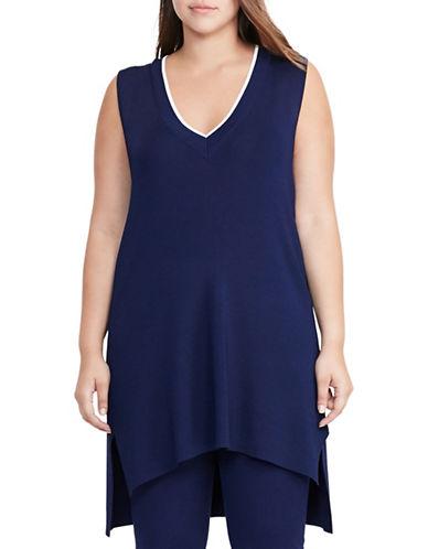 Lauren Ralph Lauren Plus Sleeveless Sweater-BLUE-2X