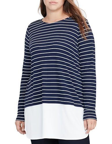 Lauren Ralph Lauren Plus Striped Jersey Top-BLUE-3X 88837644_BLUE_3X