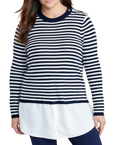 Lauren Ralph Lauren Plus Layered Wool Sweater-BLUE-1X 88837648_BLUE_1X