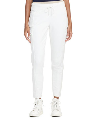 Lauren Ralph Lauren Fidelia French Terry Cargo Pants-WHITE-X-Large 88874479_WHITE_X-Large