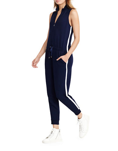 Lauren Ralph Lauren Ilandry French Terry Mock Neck Jumpsuit-BLUE-X-Large 88874488_BLUE_X-Large